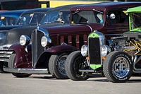 USA, New Hampshire, Epping. Antique cars lined up at an antique car show. Credit: Kathleen Clemons / Jaynes Gallery / DanitaDelimont.com