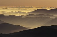 USA, Tennessee, Great Smoky Mountains NP Mountain ridges at sunrise, from Clingmans Dome