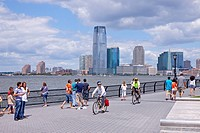 View of Jersey City from Hudson River Park, Manhattan, New York, USA