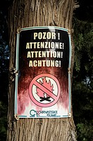 Croatia, Hvar island, Hvar  Forest fire warning sign on a tree