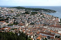 Croatia, Hvar island, Hvar  Old town seen from Spanjola fortress