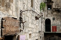 Croatia  Korcula island  Korcula old town  Shop and entrance of Marco Polo's house