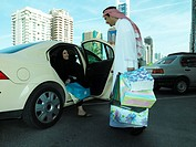 Arab couple with a shopping bag