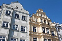 Facades of houses in Maximilianstrasse, Augsburg, Bavaria, Germany, Europe