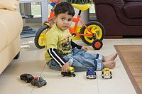 Young boy playing with toys in the living room