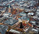 Aerial view, Christmas market, Reinoldikirche church, Hansaplatz, Dortmund, Ruhrgebiet region, North Rhine-Westphalia, Germany, Europe