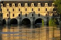 France, Indre-et-Loire, Loire Valley, Château de Chenonceau, built between 1513 - 1521 in Renaissance style, over the Cher river.