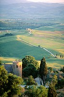 Round tower and hills near Pienza, Tuscany, Italy