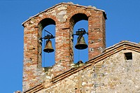 Two bells in brick tower, Gaiole in Chianti, Tuscany, Italy