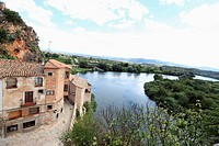 Miravet and partial view of the meandering tamarigar del Ebro, Catalonia, Spain
