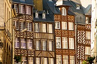 typical half timbered houses Old Rennes Britanny 35 France