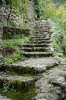 Montenegro, Godinje  Stone stairway in the village