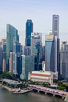 Singapore City, Down Town Skyline, Fullerton Hotel.