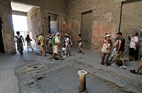 Pompeii, Roman ruins. Roman town buried in AD 79 by ash flows from Vesuvius volcano. UNESCO world heritage site. Province of Naples in Campania. Italy...
