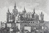 Burg Hohenzollern Castle, Baden-Wuerttemberg, Germany, historical book illustration from the 19th Century, steel engraving, Brockhaus Konversationslex...