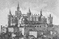 Burg Hohenzollern Castle, Baden-Wuerttemberg, Germany, historical book illustration from the 19th Century, steel engraving, Brockhaus Konversationslex...