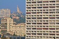Multistorey low income buildings, seen from Le Corbusier building, in the background, Marseille, Bouches du Rhone, 13, France
