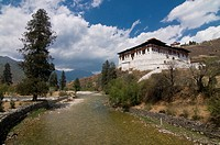 River Paro Chhu and the Tsong of Paro, Bhutan, Asia