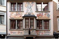 Mural paintings on the facade of a bake-house, built in 1929, Spisergasse street 1, St. Gallen, Switzerland, Europe