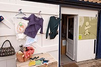 The fair enough shop store selling recycled wares at Walberswick , Suffolk , England , Great Britain , Uk