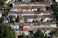 Aerial view, Kueppersbuschstrasse street, Karolinenstrasse street, perimeter block development, Gelsenkirchen, Ruhr area, North Rhine-Westphalia, Germ...