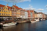 Nyhavn, bar district on the port canal, Copenhagen, Denmark, Europe