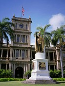 The statue of King Kamehameha in downtown Honolulu