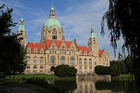 Neues Rathaus city hall, Maschpark, Hannover, Lower Saxony, Germany, Europe