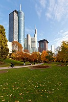 ECB, European Central Bank, HeLaBa Hessische Landesbank, Commerzbank, Japan Tower, autumn, Frankfurt am Main, Hesse, Germany, Europe