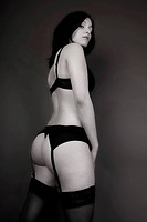 Woman, Goth subculture, standing wearing underwear