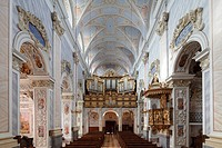 Interior of the Collegiate Church with the pulpit and organ, Goettweig Abbey, Wachau, Mostviertel, Must Quarter, Lower Austria, Austria, Europe