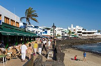 Beach and promenade, Los Limones, Playa Blanca, Lanzarote, Canary Islands, Spain, Europe