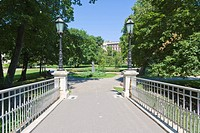 Pedestrian bridge in Bastejkalns Park, old town, Vecriga, Riga, Latvia, Northern Europe