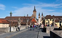 Old Main river bridge with city hall and Cathedral of St. Kilian at back, Wuerzburg, Bavaria, Germany, Europe