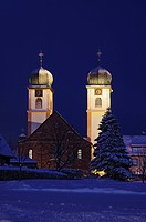 Onion domes of the church in St. Maergen in Winter, Black Forest, Baden-Wuerttemberg, Germany, Europe