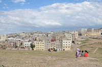 Houses and flats of the poorer population, settlement outside of Fez, Morocco, Africa