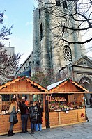 Paris, France, Christmas Shopping, Women at Traditional Christmas Market, Saint Germpain des Pr&#233;s Church, Latin Quarter