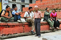 People siting and relaxing at Durbar Square