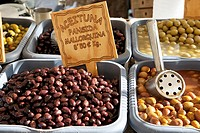 Olives of Mallorca for sale on market stall, Spain