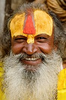 portrait of a sadhu at the Pashupatinath Temple in Kathmandu, Nepal