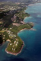 Aerial View, Castries, the capital city, coast, exclusive residential area, peninsula, Saint Lucia, LCA, Windward Islands, Lesser Antilles, Caribbean,...