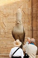 Statue of Horus in the courtyard of the temple of Horus, Edfu, Egypt, Africa