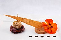 Duck liver terrine with ambrosia chutney and baby apple, decorated with a nasturtium flower, Haute Cuisine, Auberge de la Ferme Hueb, Mike Germershaus...