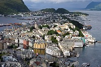 City Overview from Mt. Aksia, Alesund, More og Romsdal, Norway, Europe