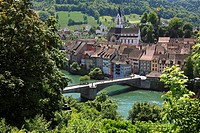 High angle view at bridge and houses, Laufenburg, High Rhine, Canton Aargau, Switzerland, Europe