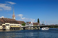 View at houses and bridge at the lake, Stein am Rhein, High Rhine, Lake Constance, Canton Schaffhausen, Switzerland, Europe