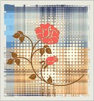 rose over halftone background