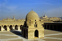 ablution fountain hall in the central courtyard of the Mosque Ibn Tulun with background the Mosque Mohamed Ali, Cairo, Egypt, Africa