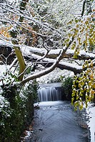 A waterfall on one of the streams that flow through St  Anne's park, Clontarf, Dublin, Ireland, in December