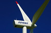 Detail of a wind turbine, Juvent wind farm on Mont Crosin, canton of Jura, Switzerland